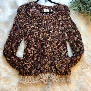Anthropologie HWR Woven Knit Chunky Lace Sweater